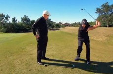 Phil Mickelson hit a trick shot over a guy standing 35 inches in front of him