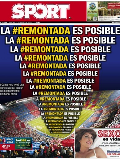 'The comeback is possible' – Front page of Barcelona paper backs Messi and Co