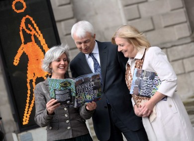 Dublin city architect Ali Grehan, Kennedy Wilson Europe director Peter Collins, and Dublin city librarian Margaret Hayes at the announcement of the new plans today.
