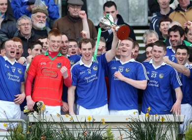 Limerick captain Seanie Buckley lifts the Division 4 trophy with teammates.