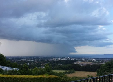 Yesterday's rain as seen from the Dublin Mountains