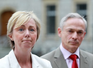 Regina Doherty with Jobs Minister Richard Bruton earlier today.
