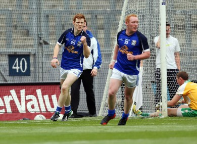 Niall McDermott of Cavan celebrates scoring his side's goal.