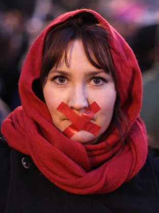 Emma Ryan at a Pro-Choice rally in January 2013