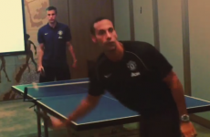 RVP takes on Rio Ferdinand in a no-look table tennis match