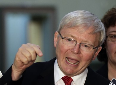 Australia's Prime Minister Kevin Rudd gestures at a press conference in Sydney