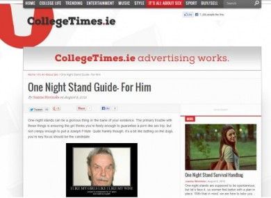 Screengrab of the offensive article on CollegeTimes.ie
