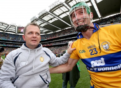 Clare manager Davy Fitzgerald celebrates with Fergal Lynch at the final whistle.