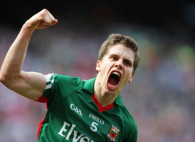 Mayo's Lee Keegan celebrates scoring a point.