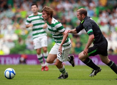 Paddy McCourt races away from Owen Heary in 2011.