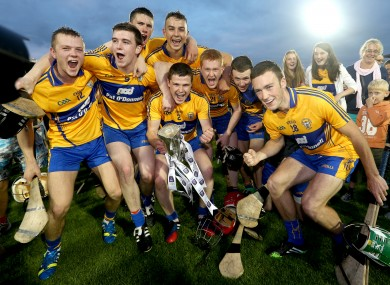 Clare captain Paul Flanagan with the trophy celebrates with his team