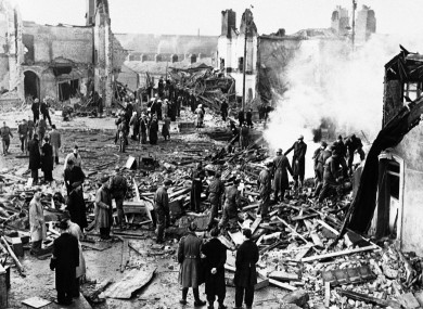 Damage caused by bombing raid in Dublin May 30, 1941