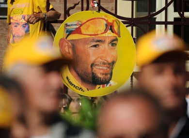 A picture of late Italian rider Marco Pantani during the Giro d'Italia last year.