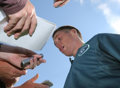 James McCarthy speaks to reporters.