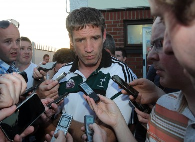 Kildare manager Kieran McGeeney speaks to the press aftre the game with Tyrone in July.