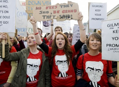 Students from UCD and the Institute of Art and Design protesting last year.