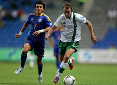 Aiden McGeady and Ulan Konysbayer when the teams met last year.