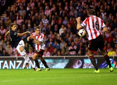 Adnan Januzaj belts home his second goal of the game.