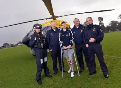 Left to right - Police helicopter pilot; Jason Rosborough (NIAS); Caolan McCluskey; Victor Baranowski and John McClintock.