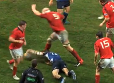 A video still captures the moment when Paul O'Connell's foot connects with Dave Kearney's head.