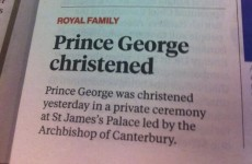 Here's how the London Independent covered Prince George's christening