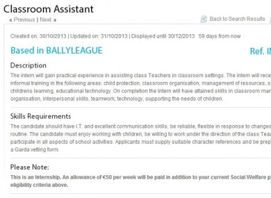 One of the current postings for a Classroom Assistant