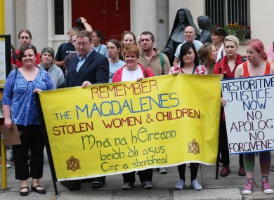 Members of the Redress for Magdalenes campaign group pickets the Sisters of Mercy, Catherine McAuley Centre on Baggot street this summer.