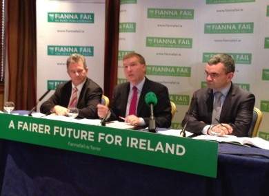 Fianna Fáils's Seán Fleming, Michael McGrath and Dara Calleary launching the party's pre-Budget submission today.