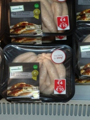 Superquinn sausages, now at SuperValu
