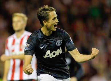 Adnan Januzaj celebrates his second goal against Sunderland yesterday.
