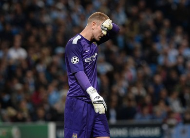 Manchester City goalkeeper Joe Hart dejected last night.