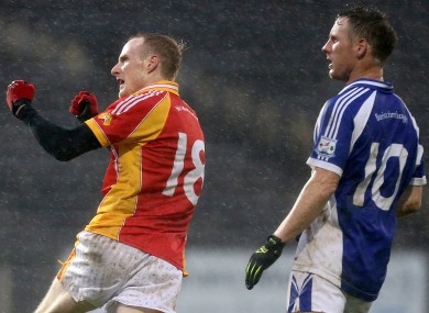 Castlebar Mitchels Tom King celebrates a point in yesterday's county final.
